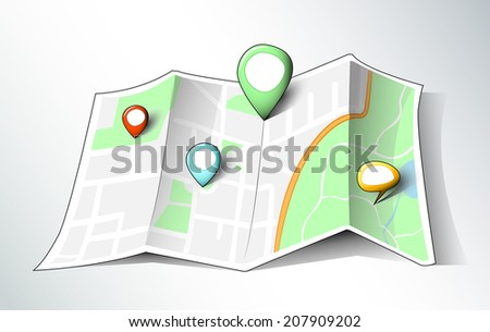 Cartoon style map with hand-drawn map pins of different sizes and shapes, EPS 10 - stock vector