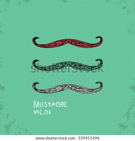 Cartoon Style Mustache Illustration - Vol. 05. - Hand Drawn Hipster Fashion Style Doodle Icon - Isolated Graphic Resource - Vector Illustration - stock vector