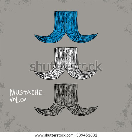 Cartoon Style Mustache Illustration - Vol. 08. - Hand Drawn Hipster Fashion Style Doodle Icon - Isolated Graphic Resource - Vector Illustration - stock vector