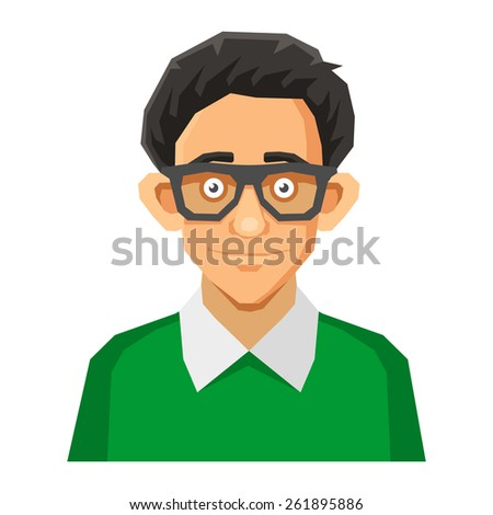 Cartoon Style Portrait of Nerd with Glasses and Green Pullover. Vector - stock vector