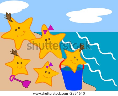Cartoon style scene of a starfish family at the beach. - stock vector