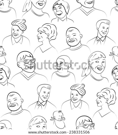 Cartoon Style Smiling and Laughing Faces Set, Vector Seamless Pattern Background - stock vector
