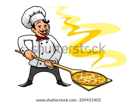 Cartoon style smiling happy baker chef cooking pizza,  suitable for fast food logo and cuisine design - stock vector