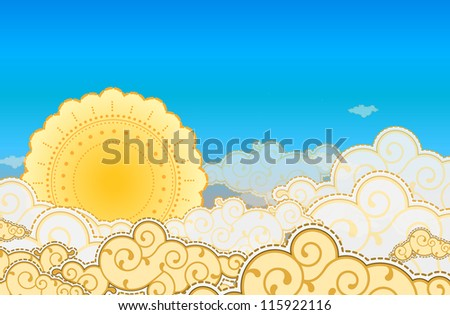 Cartoon style sun and clouds - stock vector