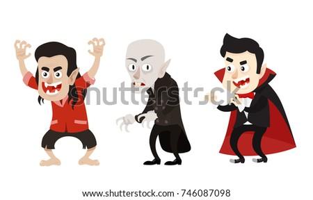 Cartoon Style Vampire Dracula Nosferatu Characters Vectores En Stock ...