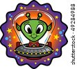 Cartoon-style vector illustration of a friendly alien flying through space in a UFO. This file is organized and clearly labeled to make editing easy. - stock vector
