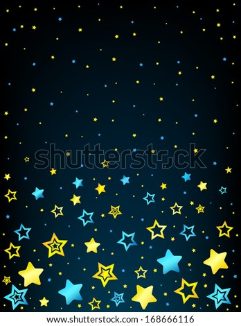 Cartoon style vector stars background with copyspace top - stock vector