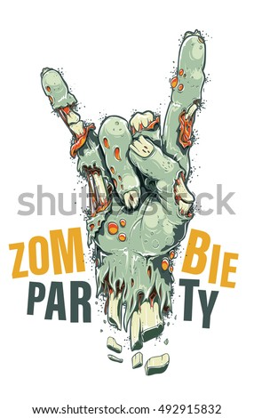 Cartoon style vector zombie hand showing horns sign. Green rotten chopped off hand with sores and bones sticking through wounds. Cool zombie party poster template. Halloween celebration invitation.