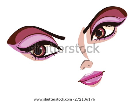 Cartoon stylized female face in anime, manga style. - stock vector