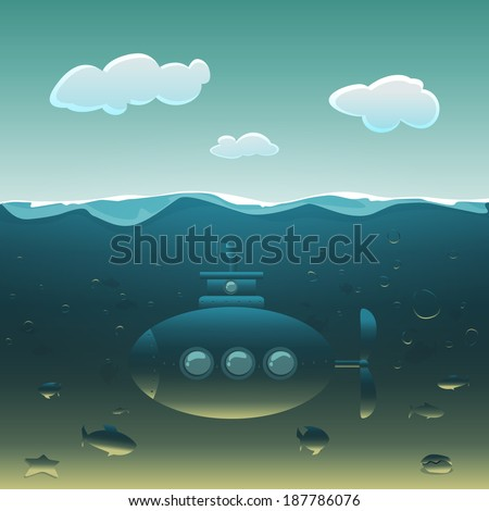 Cartoon submarine under water surrounded by fish. - stock vector