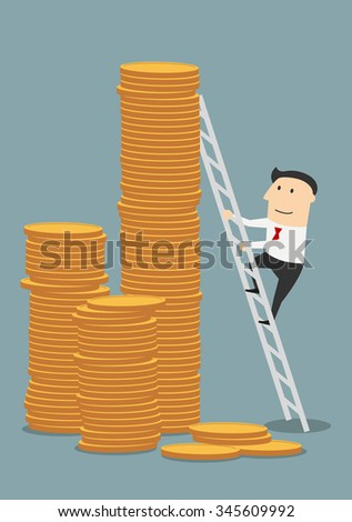 Cartoon successful businessman climbing to stacks of golden coins. Success, wealth or fast money concept design - stock vector