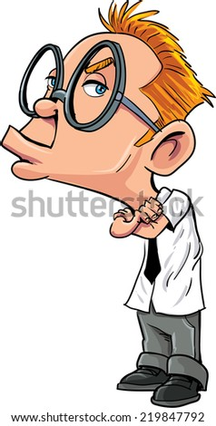 Cartoon sulking nerd man with glasses - stock vector