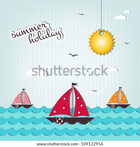 cartoon summer holiday background   - scrap elements - stock vector