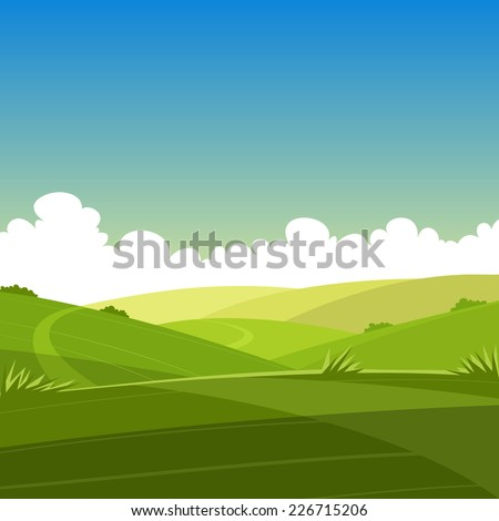 Cartoon Summer Landscape - stock vector