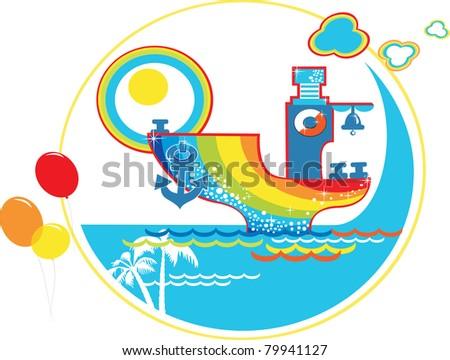 Cartoon summer rainbow ship with balloons, vector. - stock vector