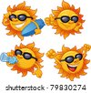 Cartoon sun character ready for summer. Vector illustration with simple gradients. All characters on separate layers for easy editing. - stock vector