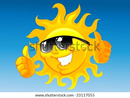 cartoon sun in sunglasses - stock vector
