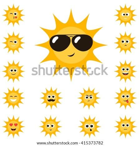 cartoon sun set with funny smiley faces - stock vector
