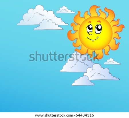 Cartoon Sun with clouds on blue sky - vector illustration. - stock vector