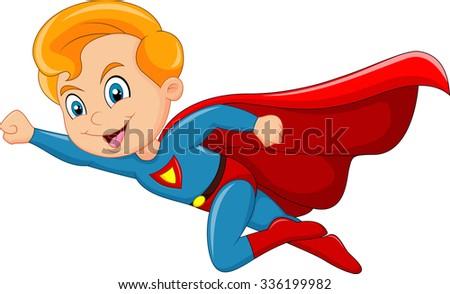 Cartoon superhero boy isolated on white background - stock vector