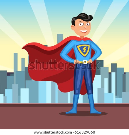cartoon superhero red cape man colorful stock vector royalty free