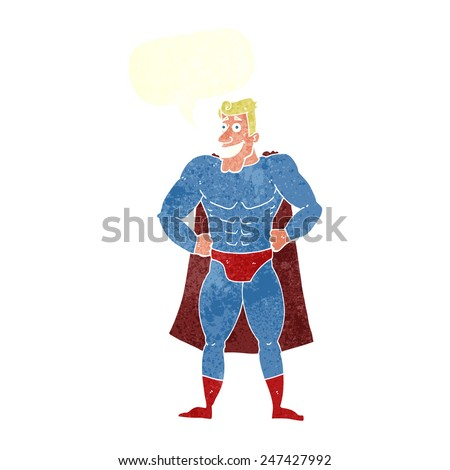 cartoon superhero with speech bubble - stock vector