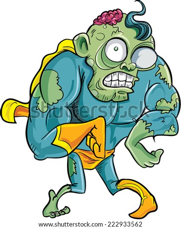 Cartoon superhero zombie. Isolated - stock vector