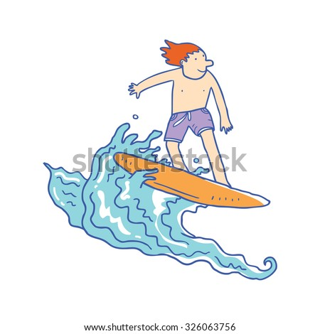 cartoon surfer boy - stock vector