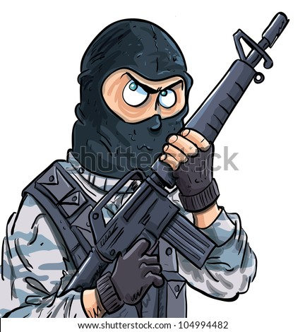 Cartoon SWAT member with a gun. Isolated on white - stock vector
