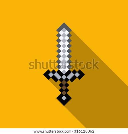 cartoon sword, pixels sword, computer game, weapon - stock vector