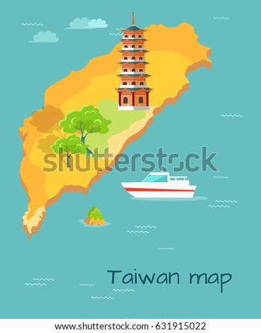 Cartoon Taiwan Map with Dragon Tiger Tower, green trees and white boat.  Chinese island