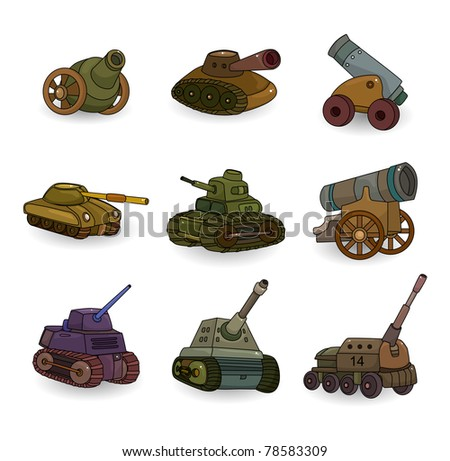cartoon Tank/Cannon Weapon set icon - stock vector