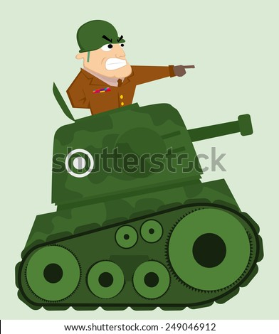 Cartoon tank with army soldier - stock vector