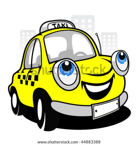 Cartoon taxi car - stock vector