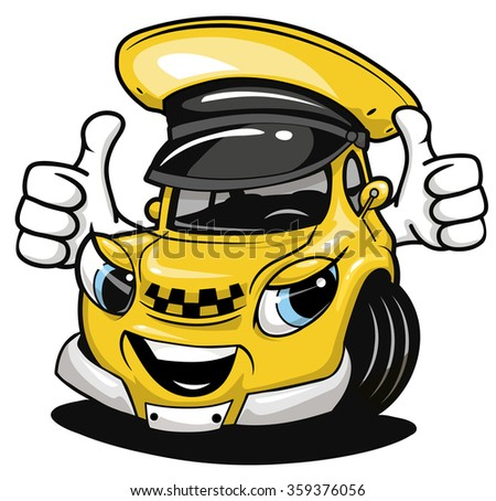 Cartoon taxi car wearing a yellow cab hat and giving a thumbs up - stock vector