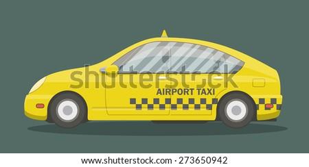 Cartoon taxi, side view. Vector illustration of a yellow urban car. - stock vector
