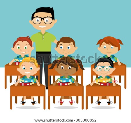 Cartoon teacher and students - stock vector