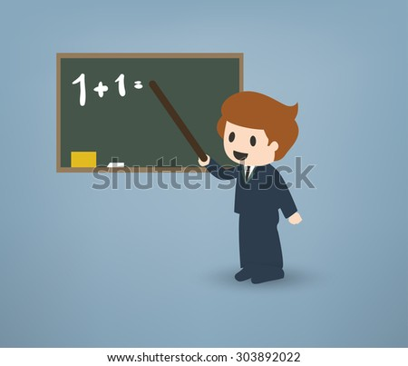 Cartoon teacher in front of a chalkboard explaining things