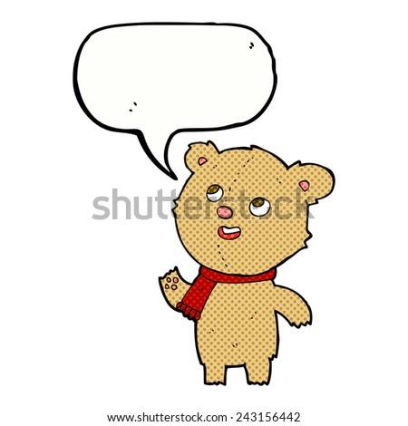 cartoon teddy bear wearing scarf with speech bubble - stock vector