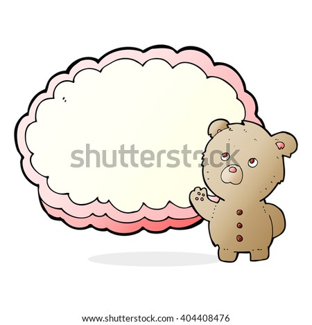 cartoon teddy bear with text space cloud - stock vector
