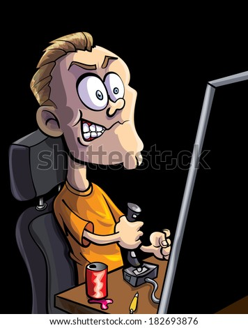 Cartoon teen playing computer game with a joystick - stock vector