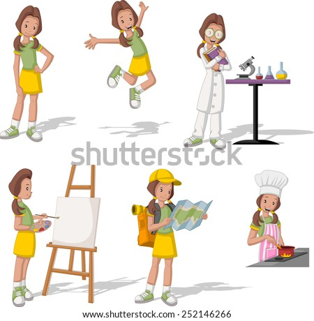 Cartoon teenage girl in different activities. - stock vector