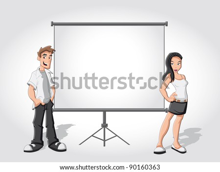 Cartoon teenagers and white billboard with empty space. Presentation screen. - stock vector