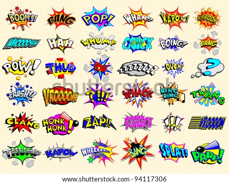 Cartoon text explosions - stock vector