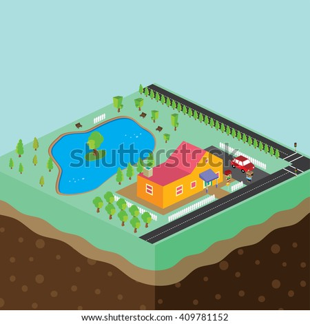 cartoon theme isometric building - stock vector