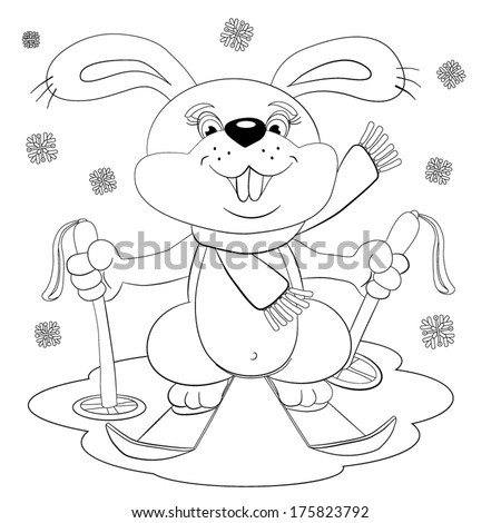 Cartoon thick, merry sportsman hare on skiers goes for a walk in a snow day. For coloring-book. - stock vector