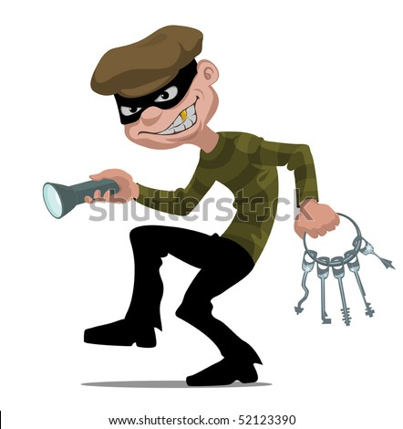 cartoon thief with flashlight and skeleton key - stock vector