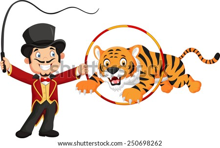 Cartoon tiger jumping through ring - stock vector