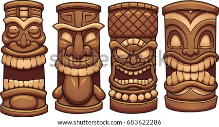 Tiki stock images royalty free images vectors shutterstock cartoon tiki totems vector clip art illustration with simple gradients each on a separate stopboris Images