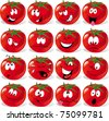 cartoon tomato with many expressions - stock photo